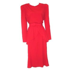 1980s vintage red peplum dress large rockabilly